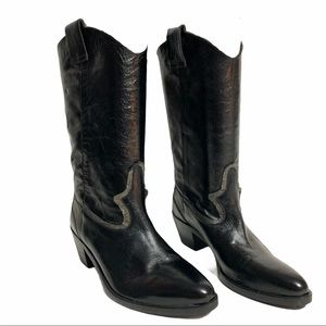 {Davos Gomma} Italian Silver Wester Boots